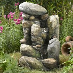 River Rock Outdoor /Indoor Water Fountain with LED Light
