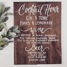 Rustic Wooden Signature Drinks Bar Sign // Signature Cocktails // Rustic Weddings