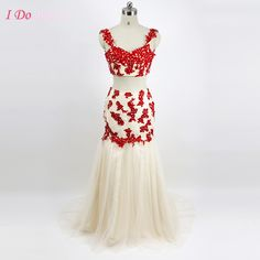 Red 2 Piece Prom Dresses Lace Mermaid Formal African Couture Long Party Graduation Dress Tulle Real Pictures Appliques G55
