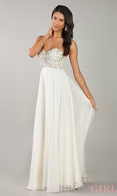 Strapless Sweetheart Floor Length Dress at PromGirl.com #fashion #prom #dresses