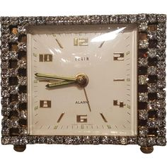 Sparkling Vintage Rhinestone Vanity Clock WORKS! from fifis-antique-perfume-bottles-compacts on Ruby Lane