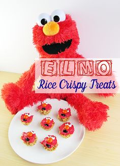 Elmo Rice Crispy Treats are perfect for a party or just for fun! They're made with peanut butter and no marshmallows! So easy! #PlayAllDayElmo [ad] #IC