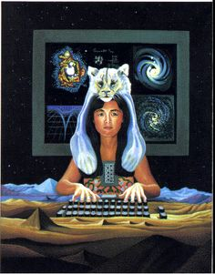 Techno-Shaman IMAGE: Woman wearing an animal pelt and computer boards, types on a keyboard that is part of the landscape. Cover art by Julie Foo.