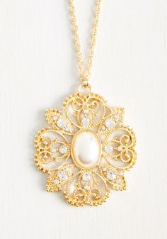 Ornate O'Clock Sharp Necklace - Gold, Special Occasion, Party, Casual, Bridesmaid, Bride, Vintage Inspired, Rhinestones