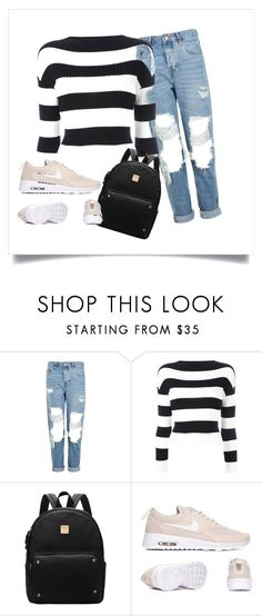 """stripes and ripped jeans"" by dream-create ❤ liked on Polyvore featuring Topshop and Boutique Moschino"