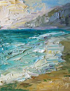 Santa Monica Pier Beach, oil - by Carol Steinberg.