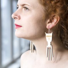 Earrings Storm are printed onto 3 mm sustainably sourced Finnish birch plywood PEFC and FSC certified wood. Drop Earrings, Jewels, Jewellery, Cat, Fashion, Moda, Jewerly, Fashion Styles, Schmuck
