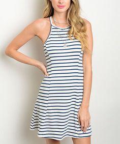 Loving this Cream & Navy Stripe Racerback Dress on #zulily! #zulilyfinds