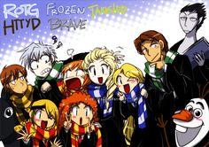 ROTG - Frozen - HTTYD - Brave - Tangled : Hogwarts by widzilla.deviantart.com on @deviantART