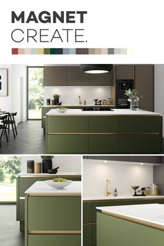 Introducing Magnet Create – 20 new kitchen colours you can't just see, you can feel. Open Plan Kitchen Living Room, Home Decor Kitchen, Kitchen Ideas, Kitchen Cabinet Colors, New Kitchen Cabinets, Home Decor Bedroom, Interior Design Living Room, Bedroom Sets, Green Kitchen