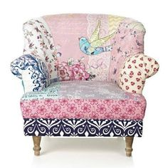 Adore this pretty patchwork chair! So shabby chic! Funky Furniture, Painted Furniture, Furniture Design, Decoupage Furniture, Painted Chairs, Poltrona Vintage, Patchwork Chair, Muebles Living, Upholstered Furniture