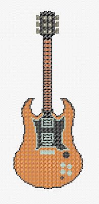 Dibujos Punto de Cruz Gratis: Guitar Cross Stitch Pattern - Guitarra punto de cruz