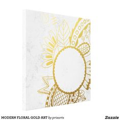 MODERN FLORAL GOLD ART CANVAS PRINT
