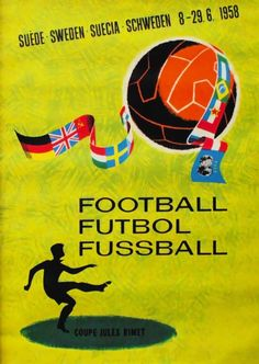 Cartel oficial del campeonato mundial de futbol de Suecia 1958 - Official poster of the football World Championship Sweden 1958