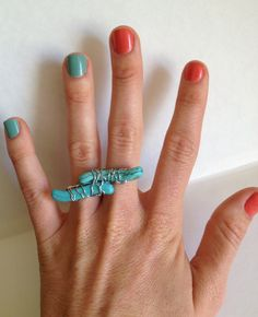 two finger rings. obsessed. Aquamarine Gemstone  2 Finger Wirewrap Ring by LoveMeAccessories, $35.00