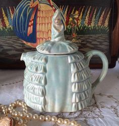 "Sadler ""Ye Daintee Laydee""  Pale Blue Turquoise Crinoline Lady Teapot,  Painted Face- Vintage 1930's - Reg. No. 824571 -Made in England by florenceforeverfinds on Etsy"