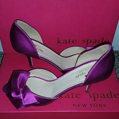*NEW* Kate Spade Heels Brand New in Box, stunning heels!  Kate Spade New York Women's Sala D'Orsay Pump Fuchsia/Satin with a beautiful bow on the side of the toe.  Heel measures approximately 3in. kate spade Shoes Heels