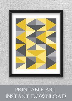 Printable Art Geometric Print Gray and Yellow Art Modern