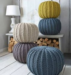 Super soft poufs made of knitted ribbon yarn. Cozy poufs for the interior. Soft furniture Super soft poufs made of knitted ribbon yarn. Cozy poufs for the interior. Knitted Poufs - Nordic House Knitted Poufs, great feature for a living room and pratical - Pouf En Crochet, Crochet Pattern, Knitted Pouffe Pattern, Crochet Pillow, Free Pattern, Ribbon Yarn, Diy Décoration, Fall Home Decor, Home Accessories
