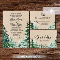 Forest Wedding Invitation, Rustic Watercolor Tree Invite, Outdoor Wedding, Mountain, Pine Tree Invite, Rustic Wedding, Kraft, jadorepaperie