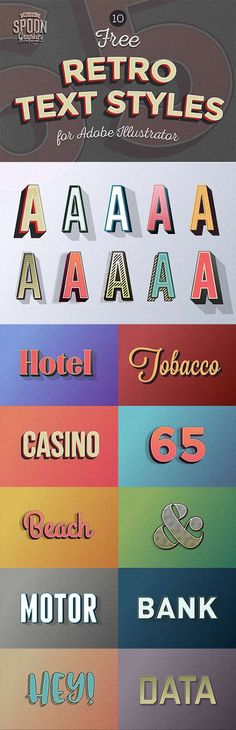 All for graphics and design: 10 Free Retro Text Effect Graphic Styles for Adobe...