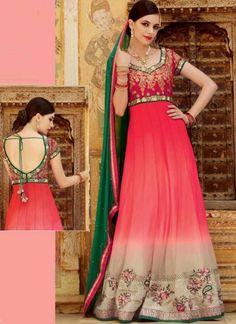 Pink Sea Green Embroidery Work Long Fancy Net Wedding Anarkali Suit  http://www.angelnx.com/Salwar-Kameez