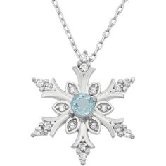 4mm Snowflake Sky Blue Topaz and Created White Sapphires Pendant... ($49) ❤ liked on Polyvore featuring jewelry, necklaces, accessories, colar, blue, sterling silver heart necklace, pendants & necklaces, blue topaz pendant, blue pendant necklace and heart pendant necklace