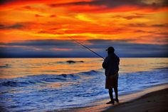 Surf Fishing at Sunset in Oceanside - July 3, 2013