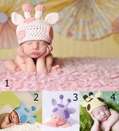 Multicolor Infant Toddler Handmade Knitted Crochet Baby Hat Pink Giraffe Newborn Hat Photography Props Baby Hats Newborn Hats