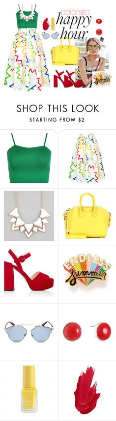 """""""colored happy hour"""" by maragaliero ❤ liked on Polyvore featuring WearAll, Full Tilt, Givenchy, Prada, ban.do, Christian Dior and Liz Claiborne"""