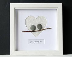 Framed Pebble Art - Pebble Birds - Stone Birds - Heart Frame - Pebble Love Birds - Engagement Wedding Gift - Personalised Pebble Art