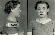 Montreal was the center for sex during Prohibition in the U.S., when Americans would travel north to fulfill their illicit needs in Canada. Irene Lavallée, arrested in connection with an investigation into prostitution, has the plucked brows, curled hair and dark painted lips that were considered fashionable in the early 1940s. As well as the look in her eye of one who favors 420...haha