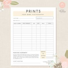 Order form template Photography order form by StudioStrawberry