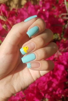 🎵 Rubber Ducky you're the one 🎵 Disney Acrylic Nails, Simple Acrylic Nails, Best Acrylic Nails, Acrylic Nail Designs, Simple Nails, Animal Nail Designs, Short Nail Designs, Grunge Nails, Swag Nails