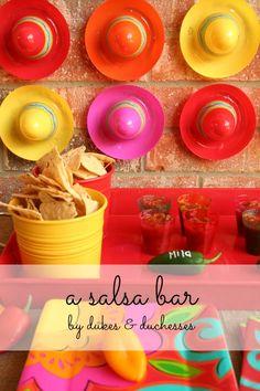 a colorful salsa bar