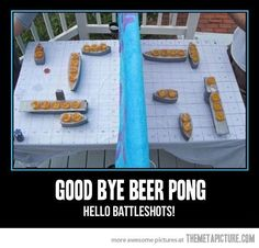 Beer pong or battleshots? I don't know...this does look fun...