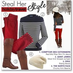 Holiday Travel Style by mmmartha on Polyvore featuring Saint James, Comptoir Des Cotonniers, Frye and The North Face