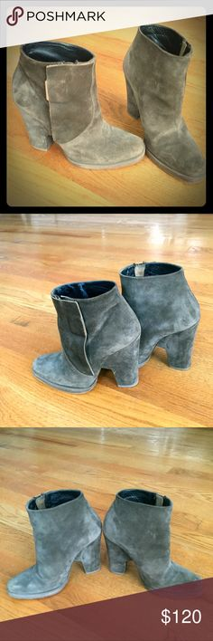 Theyskens Theory Olive Green Suede Ankle Boots 38 Theyskens Theory Olive Green Block Heel Suede Ankle Boots. Hidden zip closures at sides featuring magnetic closures. Size 38. Will fit US 7.5/8 Worn few times. Theyskens' Theory Shoes Ankle Boots & Booties
