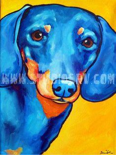 local Winston-Salem artist! 8×10 Dauchshund PRINT. $22.00, via Etsy.