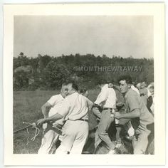 1940 PHOTO ME Maine Lewiston Montagnard Outing Tug of War Strong Beefy Men