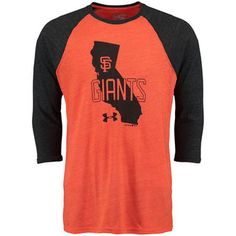 Men's San Francisco Giants Under Armour Orange Three-Quarter Sleeve Tri-Blend Baseball Performance T-Shirt