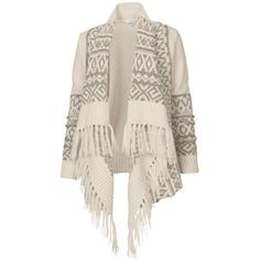Fat Face Fairisle Waterfall Cardigan, Ivory ($68) ❤ liked on Polyvore featuring tops, cardigans, long sleeve tops, pink top, fringe top, chunky knit cardigan and fringe cardigan