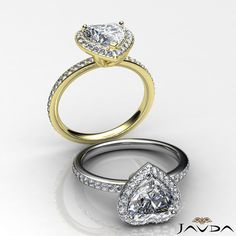 2 ct Halo Pave Heart Diamond Engagement Brilliant Ring 14K White & Yellow Gold F SI1 GIA