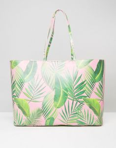 ASOS BEACH Oversized Palm Print Shopper Bag