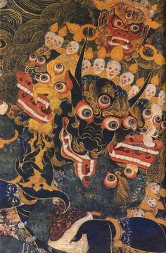 Yamantaka is also known as Vajra Bhairava. Tibetan: Dorje Jig-je and Shinjé. Conqueror or Slayer of Death, the wrathful emanation of Manjusri. He has eight heads. The principal head is that of a bull or a buffalo. He has 34 arms and sixteen feet with which to subdue Yama. Above the eight heads is the gentle face of golden-colored Manjushri.