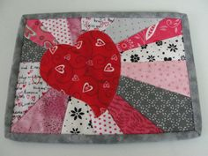 Quilted Valentine Heart Patchwork Mug Rug by countrysewing4U
