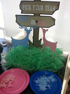 Buck or Doe Gender Reveal Baby Shower pick your team centerpiece