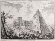 Views of Rome (Vedute di Roma) : The Pyramid of Caius Cestius, with the Porta S. Paolo and adjoining road (Veduta sul Sepolcro di Cajo Cestio) at Davidson Galleries