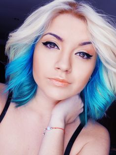 Blonde and blue ombre hair idea I want this only in purple with dark brown hair from the roots