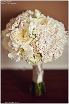 Cabbage Roses or Garden Roses with Doilies in YourWedding Bouquet